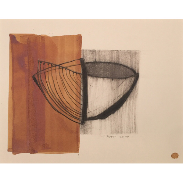 abstrahierte Schale in braun, schwarz und beige