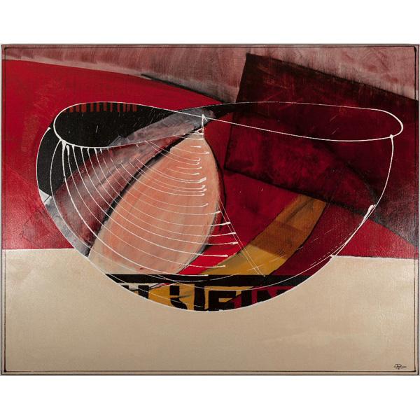 abstrahierte Schale in Rot, Rosa und Beige