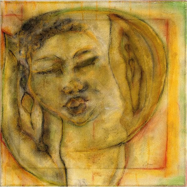 Frauenbildnis in gelb und braun