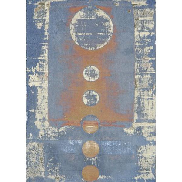 Komposition in blau, weiß und orange von Peter Kauders