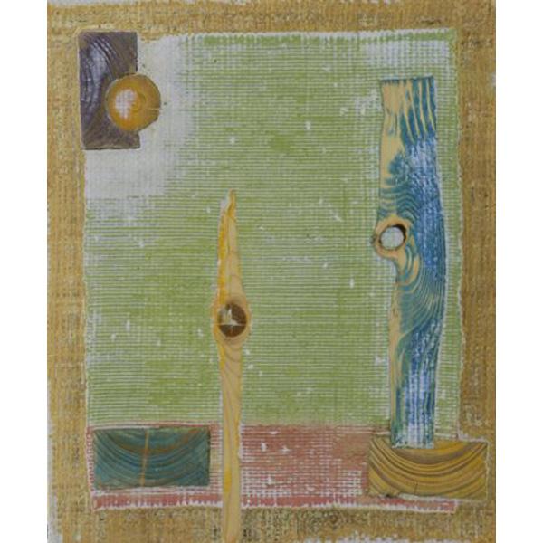 Komposition in grün, blau, rot, gelb und braun von Peter Kauders