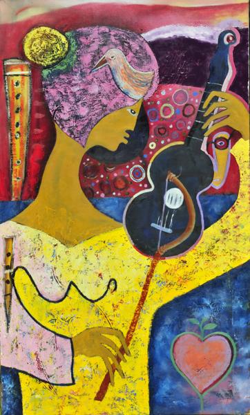 Violinspielerin in gelb-rosa-schwarz