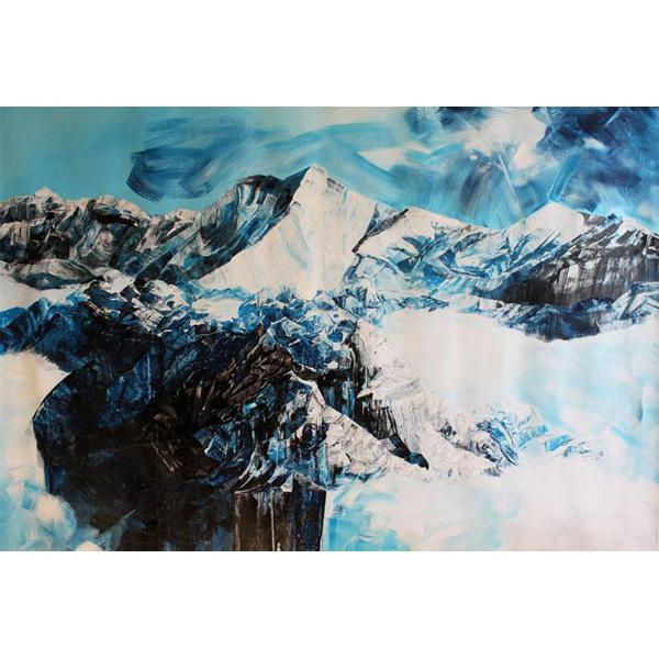 Berge in blau-weiß