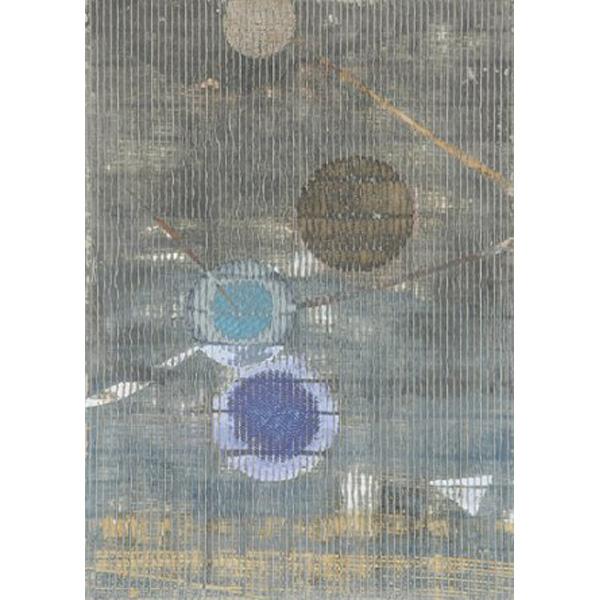 Längsstreifen mit Kreisen in braun, türkis und blau