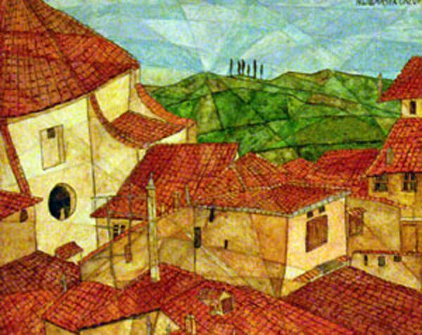 Hausdächer vor toskanischer Landschaft