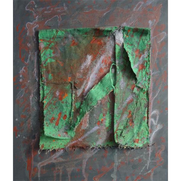 Braun-Rot-Oranges Bild mit grünem Stoff