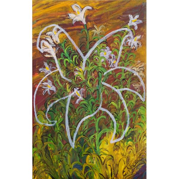 Weiße Lilien mit grün und braun