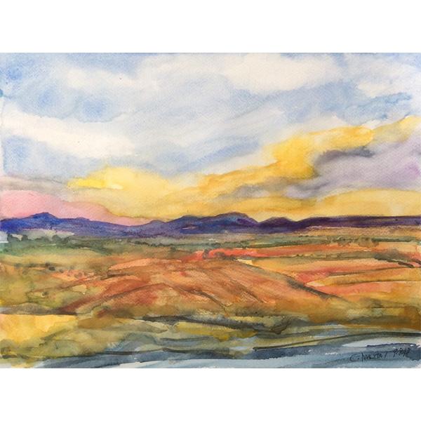 Hügelige warme Landschaft mit gelb-blauem Himmel