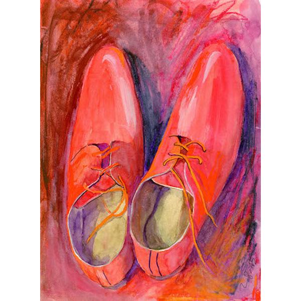 rote Schuhe in rotem Bild