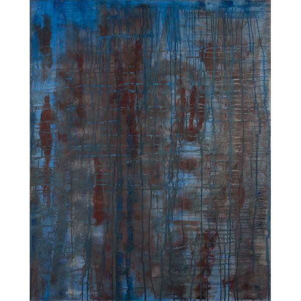 Abstrakte Malerei in blau-braun