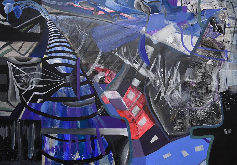 Abstrakt, Linien und Figuren in blau, schwarz, rot und weiß