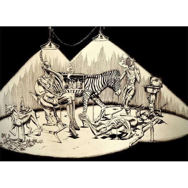 Surrealistische Tuschezeichnung von Manege mit Menschen und Tieren