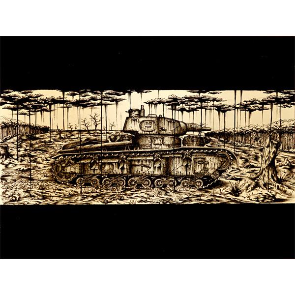 Zeichnung eines Panzers in teilzerstörter Landschaft