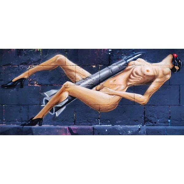 Streetart - nackte Frau in Bild liegend mit Rakete