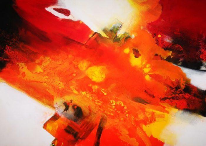 Abstrakt in Rot, schwarz, weiß, gelb, orange