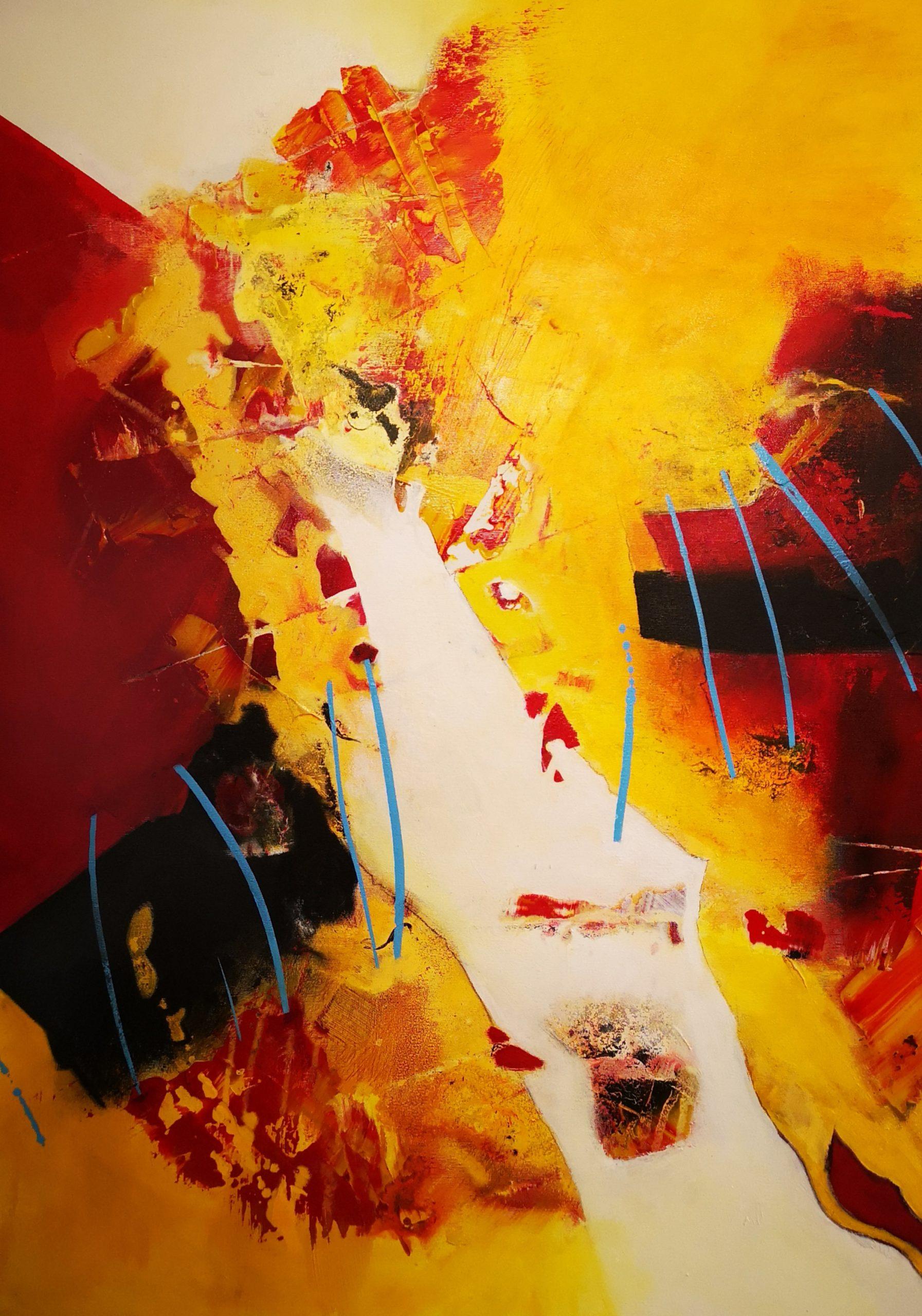 Abstrakt in Rot, schwarz, weiß, gelb
