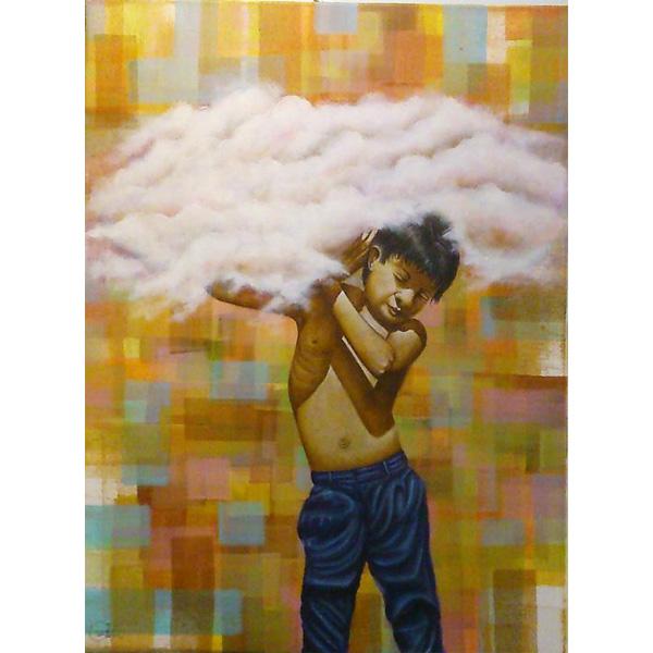 Kind mit Wolke vor abstrahierter Landschaft