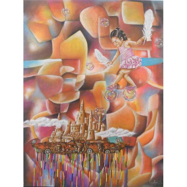Mädchen balanciert auf Seifenblasen vor abstrahierter Landschaft