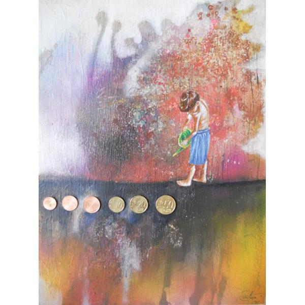 Kind gießt Geld in abstrahierter Landschaft
