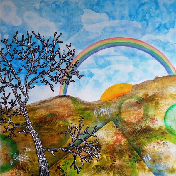 Regenbogen und Baum in bunter abstrahierter Landschaft