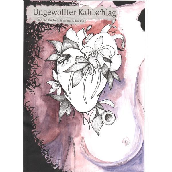 """Weißes Herz mit Schriftzug """"Ungewollter Kahlschlag"""" vor rosa-weiß-schwarzem Hintergrund"""