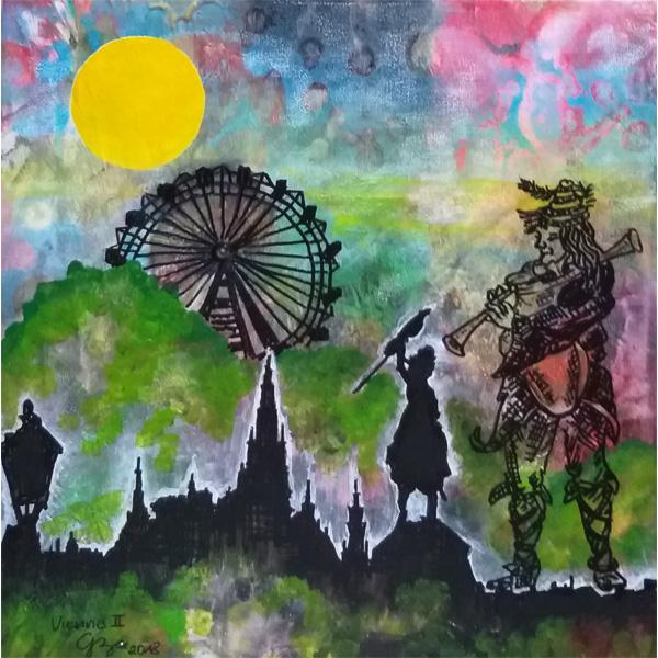 Riesenrad und lieber Augustin vor Wien-Silhouette in bunter abstrahierter Landschaft