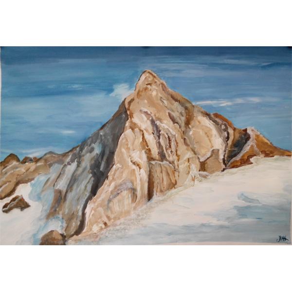 Scgnee, Bergspitze und Himmel