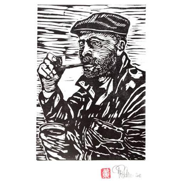 Werner Bethmann in schwarz-weiß als Holzschnitt