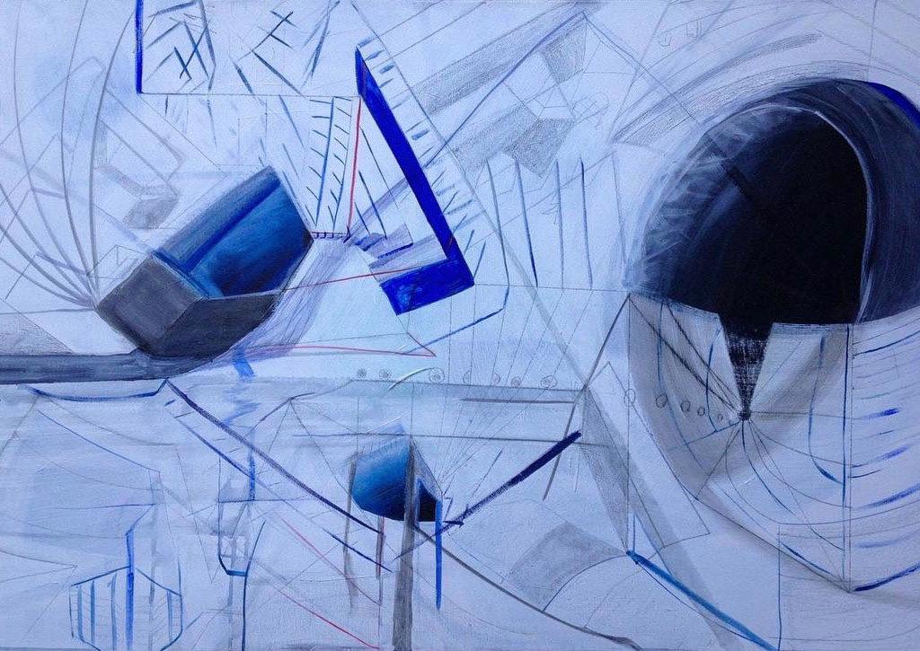 Abstrakt, Linien und Figuren in blau und weiß