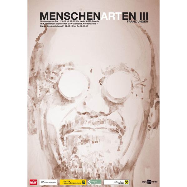 Plakat eines Aqarells - Selbstbildnis des Künstlers Franz Unger