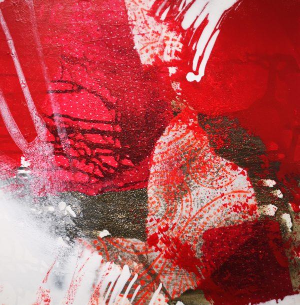 Abstrakt in Rot, schwarz, weiß