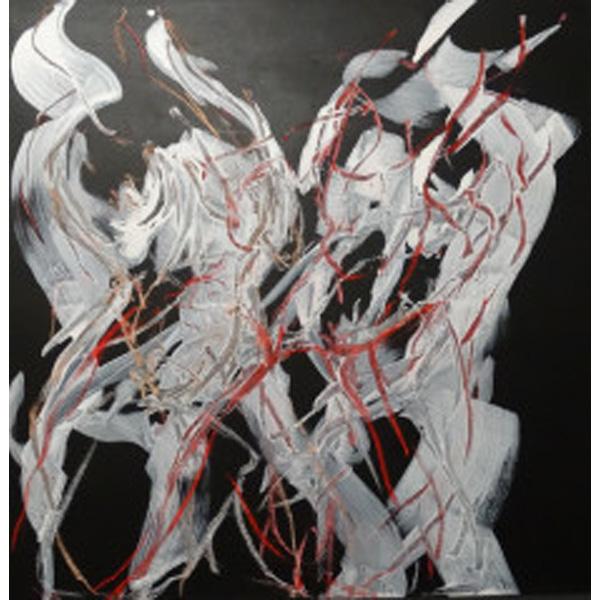 Zwei Figuren abstrahiert weiß-schwarz mit rot