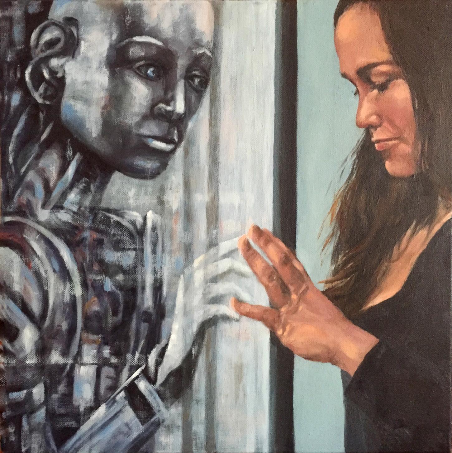 Roboter und Frau berühren sich durch Glasscheibe