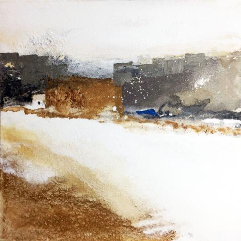 Abstrakte Landschaft in weiß, grau und braun mit breitem Weg von links oben nach rechts unten