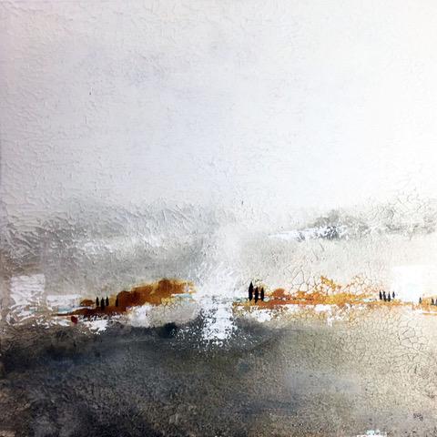 Abstrakte Landschaft in weiß, grau und braun
